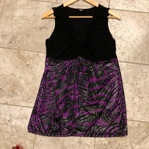 Women's black and purple sparkling top.